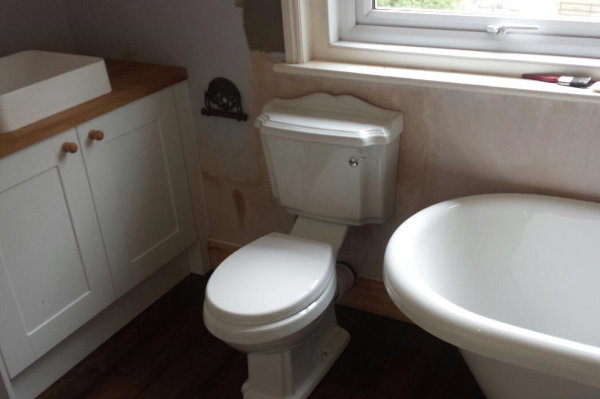 Before painting toilet and unit