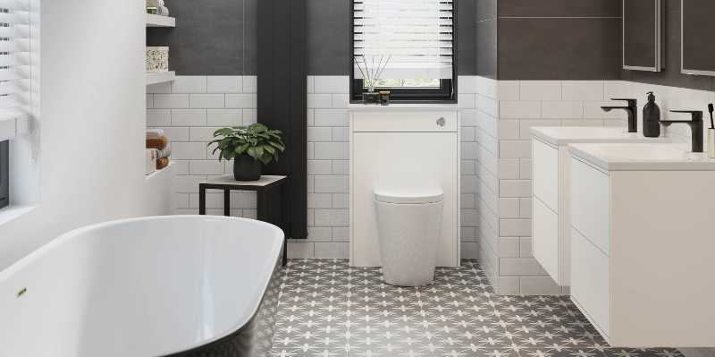 This image is showing the Balham Black Bath and Perla Matt White units