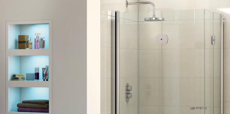 Square shower enclosure with a round shower head