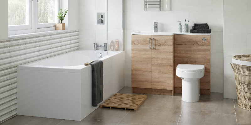 This image is showing the Volta Natural Oak Free standing units